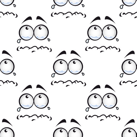 Crying miserable face cartoon characters with eyes full of tears in seamless pattern for fabric or wrapping paper design