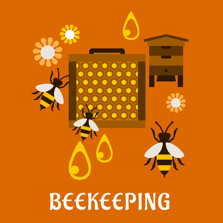 beekeeping: Beekeeping concept in flat style showing beehive, frame with honeycombs and bees flying around flowers and drops of honey on orange background with text Beekeeping Illustration