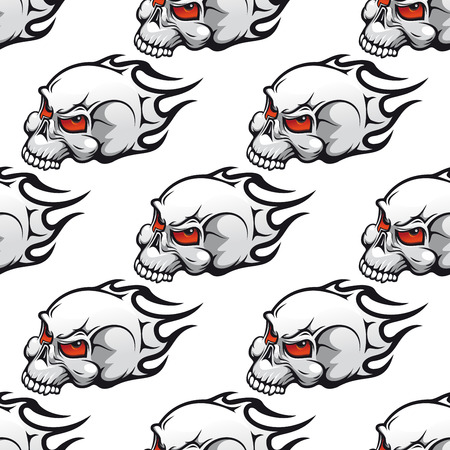 red eyes: Seamless danger cartoon skulls pattern with tribal stylized flames and angry red eyes on white background suited for wrapping or halloween party decoration design