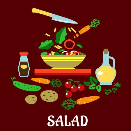 cucumber salad: Cocinar ensalada plana concepto mostrando recipiente con verduras frescas en rodajas rodeado de zanahorias enteras, pepino, tomates, papas, hierbas picantes, botellas de aceite de oliva y salsa de soja aisladas en fondo rojo con ensalada subt�tulo