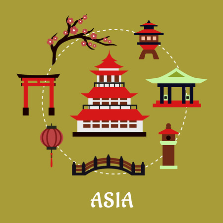 japanese temple: Japan travel infographic in flat style showing traditional japanese pagoda with red roof surrounded by blossoming branch of sakura, torii gate, paper lantern, temple and bridge on green background with text Asia