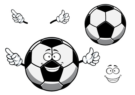 sporting: Cartoon football or soccer ball mascot character with cheerful smiling face in traditional black and white colors for sporting design
