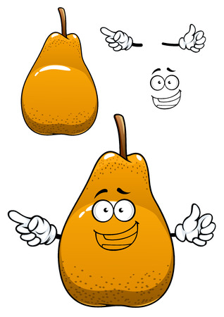 pear shaped: Fresh pear cartoon character depicting juicy bell shaped yellow fruit with dry brown stalk and happy smile isolated on white background Illustration