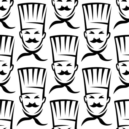 toque: Contoured heads of mustache chef or cook seamless pattern in uniform toque and neckerchief on white background suited for fabric or recipe book design