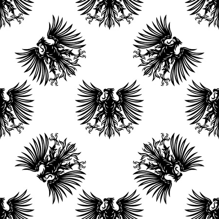 medieval: Heraldic eagles seamless pattern with silhouettes of royalty hawks on white background for medieval interior design
