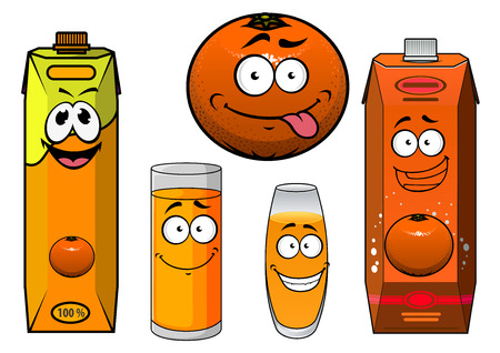 teasing: Fresh natural orange juice cartoon characters including teasing orange fruit, toothy smiling juice containers with screw caps and filled glasses isolated on white background