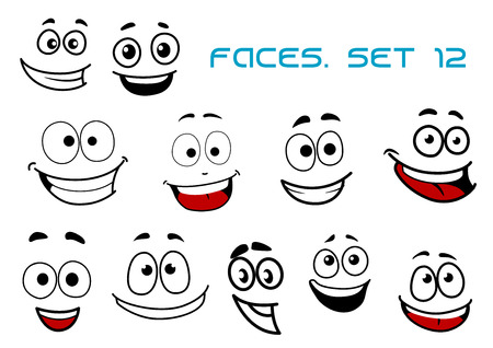 Emotions faces in cartoon style showing happy, joy, fun, glee, laugh emotions suited for avatar, caricature or comics design Illustration