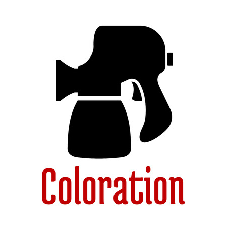 airbrush: Black icon of spray gun or airbrush tool with accessories isolated on white background with red caption Coloration