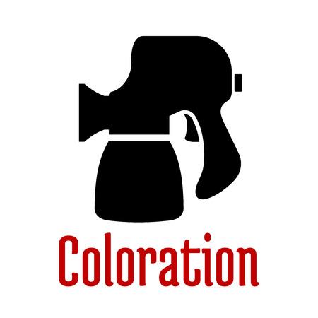 aerografo: Icono negro de la pistola o aer�grafo con accesorios aislados en fondo blanco con la coloraci�n roja subt�tulo