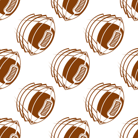 lacing: Brown rugby balls seamless pattern showing flying american football balls with traditional lacing on white background for fabric or wrapping design