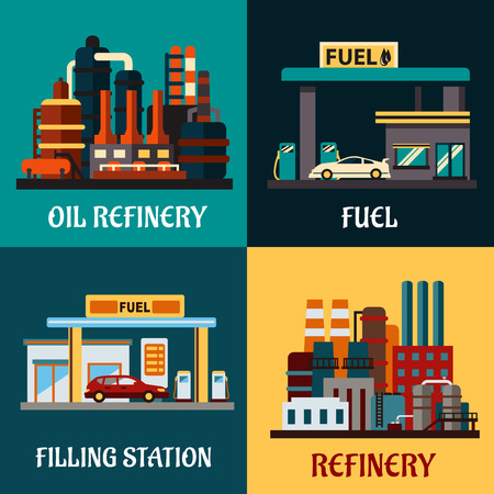 Oil refinery factories and gas stations concepts in flat style showing roadside filling stations with cars, pumps and industrial plants for refining oil products with tanks and pipes