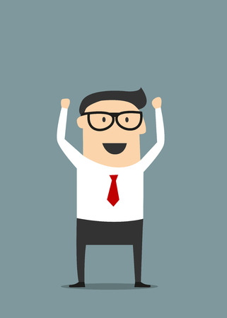 Excited  cartoon businessman in glasses and red tie raising hand with clenched fists in flat style suited for success or good news concept design Illusztráció