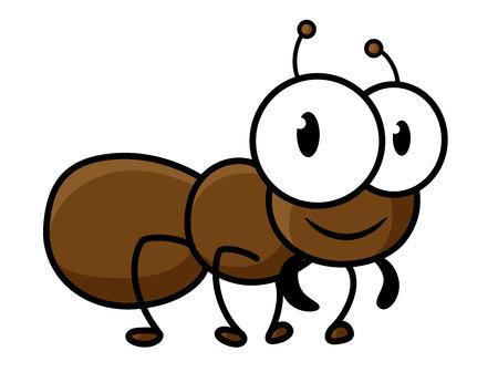 hormiga caricatura: Poco carácter hormiga marrón linda de la historieta con las piernas cortas y divertidas antenas aisladas sobre fondo blanco para el diseño decoración infantil Vectores