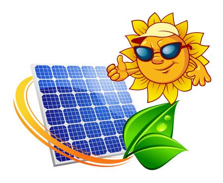 青の太陽エネルギー パネルを描いた漫画のスタイルでエコ概念囲まれて新鮮な緑の葉と親指を現してサングラスで太陽と黄色の木漏れ日