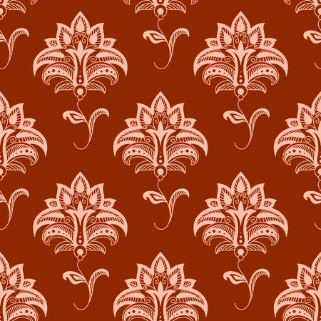 dainty: Elegant oriental stylized floral seamless pattern with delicate pink flowers on wavy leafy stems on titian background suitable for textile or interior accessories design