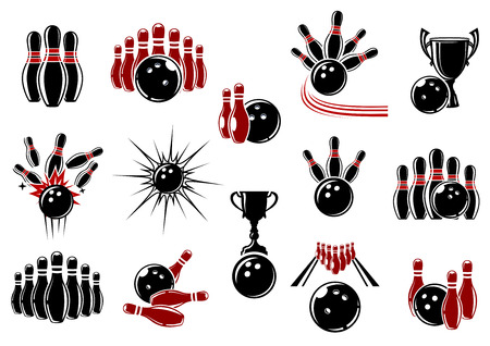 Bowling design elements for sporting emblems or logo with balls, ninepins, trophy cups and lanes decorated comics motion trails and explosion clouds
