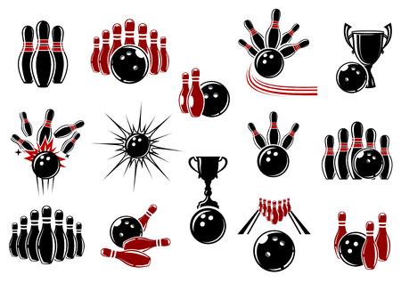 esfera: Elementos de diseño de Boliche en emblemas deportivos o insignia con pelotas, bolos, tazas del trofeo y carriles decoradas cómics estelas de movimiento y de explosión nubes