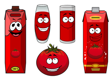 tomato juice: Natural tomato juice cartoon characters depicting cute ripe tomato vegetable, glasses with thick red drink and cardboard containers for food pack design
