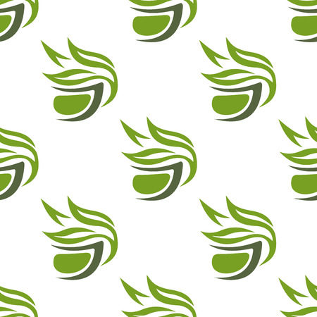 steam of a leaf: Abstract green or herbal tea seamless pattern with stylized tea cups decorated leafy branches on white background suitable for fabric or wrapping design Illustration