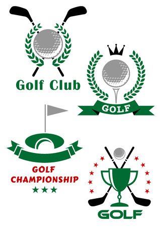 Golf championship emblems or badges showing balls, putters, tee, trophy cup and hole with flag encircled laurel wreaths, stars and ribbon banners Vector
