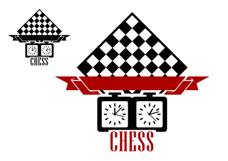chess move: Black silhouettes of chess board and clock with blank ribbon babber isolated on white background suitable for chess match emblem  design