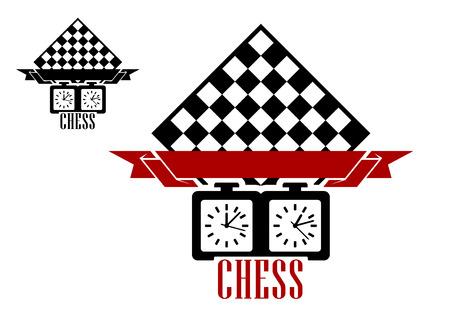 adversaire: Silhouettes noires de l'�chiquier et l'horloge avec le blanc ruban Babber isol� sur fond blanc conviennent pour la conception de l'embl�me de match d'�checs