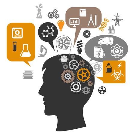 cientificos: Silueta de la cabeza cient�fico pensando en la investigaci�n qu�mica con engranajes cerebrales y burbujas de pensamiento a su alrededor que muestran las pruebas de laboratorio, las innovaciones de refinaci�n de petr�leo, y guardar iconos de recursos