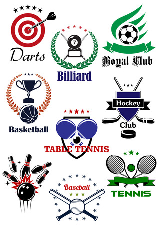 Sporting badges  with equipments and heraldic design elements for football or soccer, ice hockey, darts, basketball, billiards, table tennis, bowling, baseball and tennis Vector