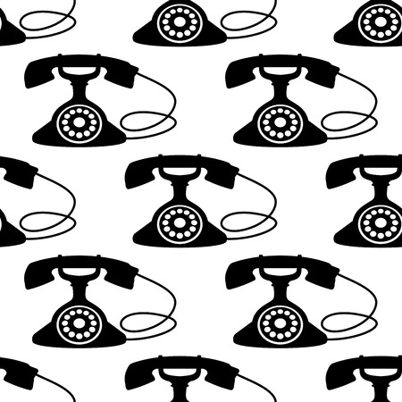 rotary dial: Black silhouettes of retro telephone with rotary dial seamless pattern on white background suitable for textile or page fill design