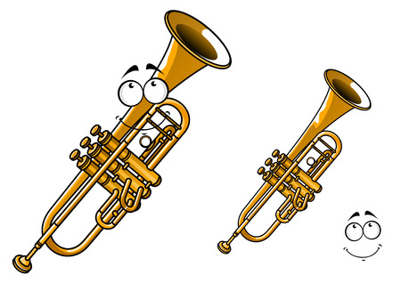 wind instrument: Shy smiling brass trumpet cartoon character showing polished shining wind musical instrument with funny face suitable for classical orchestra concert poster design