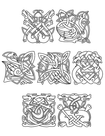 bird  celtic: Abstract contoured animals and birds in traditional celtic knot style decorated tribal geometric ornament suitable for totem medieval styled embellishment  design