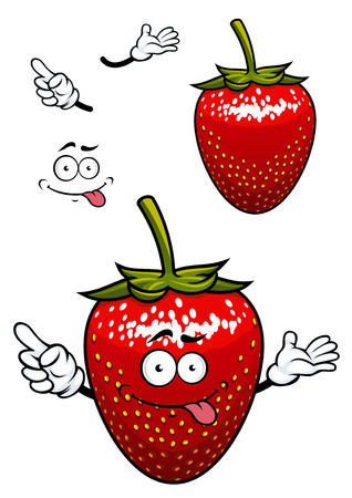 teasing: Teasing bright red strawberry fruit cartoon character with yellow seeds and playful smile for childish decor or food design