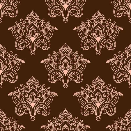 contoured: Vintage patr�n transparente floral con flores de color rosa contorneadas en estilo paisley persa tradicional en el fondo de color marr�n oscuro Vectores