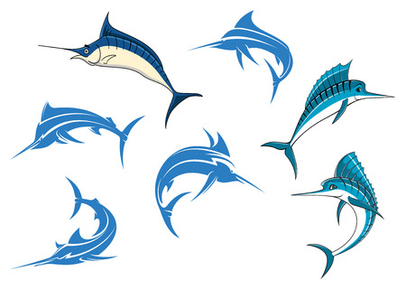 marline: Jumping blue marlins or swordfishes with long thin noses and big dorsal fins isolated on white background for sporting fishing or emblems design Illustration