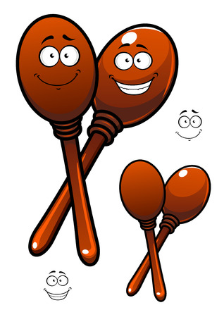percussion: Pair of wooden polished maracas cartoon characters depicting mexican traditional percussion musical instruments with funny smiling faces for childish or party design