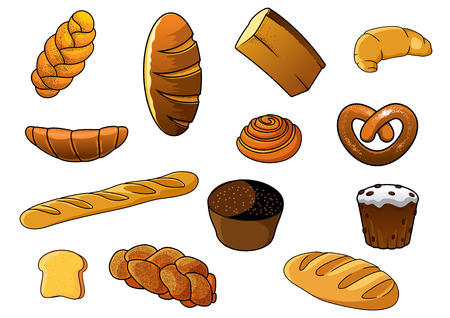 Cartoon fresh bakery products design elements depicting loaves of white and brown bread, long loaves, baguette and sweet cinnamon bun, croissants, plaited loaves with poppy seeds, cake with raisins and salty pretzel Vector