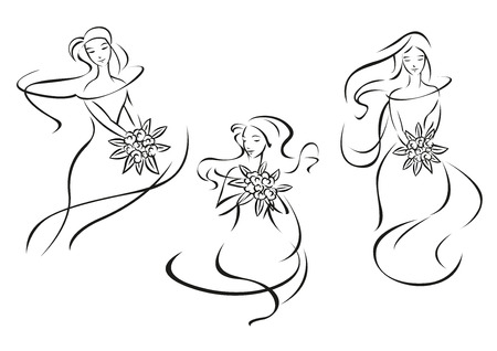 Silhouettes of pretty brides girls in outline sketch style with bouquets of flowers and pointed leaves for bridal salon  or emblem design