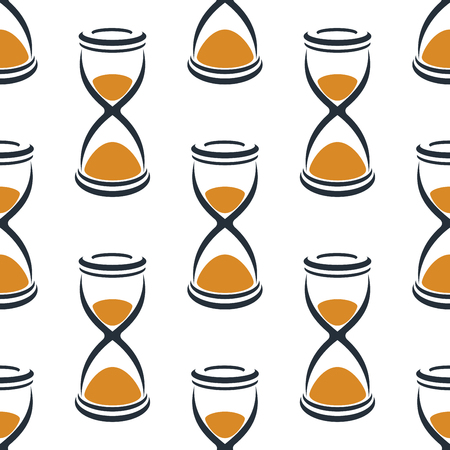 sandglass: Seamless cartoon hourglasses in retro style with orange sand pattern on white background suitable for fabric or wrapping paper design