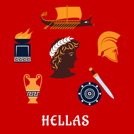 Ancient Greece flat concept depicting greek hero profile in laurel wreath surrounded by greek symbols: war galley, soldier helmet, shield and xiphos sword, amphora with geometric ornament and fire pit bowl with caption below Hellas