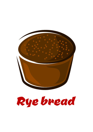 rye bread: Round loaf of spicy brown rye bread with cumin seeds in cartoon style isolated on white background with caption Rye bread