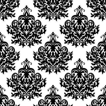 シームレスなビクトリア朝白黒花柄ダマスク織と繰り返される巻き毛の緑豊かな花のモチーフと豪華な壁紙やタペストリー設計のための休暇をスク