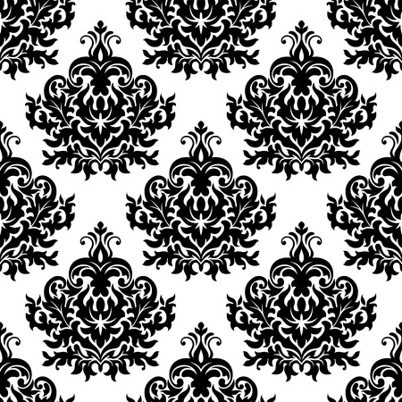 victorian wallpaper: Seamless victorian floral black and white pattern with damask repeated motif of lush curly flower and leave scrolls for luxury wallpaper or tapestry design Illustration