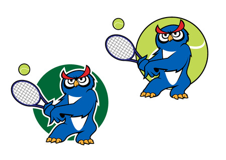 Cartoon blue owl playing tennis with tennis ball on the background and second variant with dark green backdrop suitable sporting mascot or emblem design Illustration