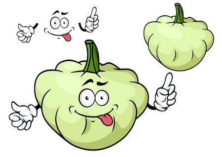 scalloped: Teasing pattypan squash vegetable cartoon character with flattened scalloped edges isolated on white background for agriculture or vegetarian menu design
