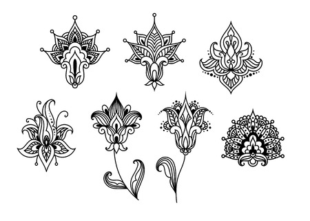 Contoured abstract paisley floral design elements in indian style desorated swirls and curlicues isolated on white background