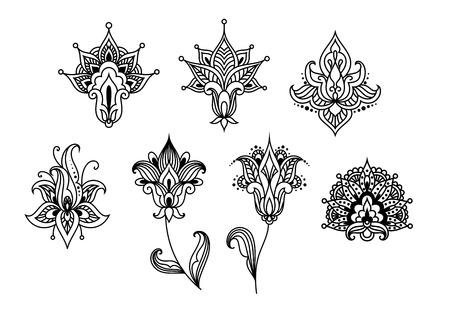 disegni cachemire: Sagomati paisley astratto elementi di design floreale in stile desorated volute e ghirigori indiano isolato su sfondo bianco