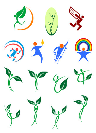 friendly people: Eco friendly and environment protection abstract symbols showing silhouettes of people with green leaves, rainbow and wings in blue and green colors