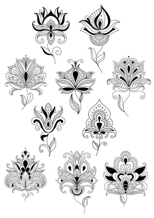 lush: Abstract openwork turkish stylized flowers with lush blooming petals and oblique leaves on billowy fragile stems for background fills or textile design Illustration