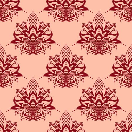 embellishment: Seamless vintage floral tracery pattern in persian style with red flower on pink background suitable for textile or lace embellishment design Illustration