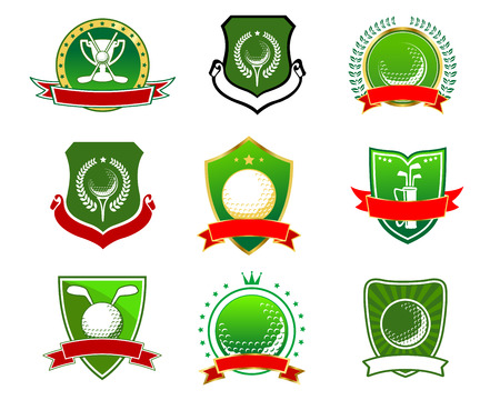 shield: Vintage green golf emblems and logos with crossed clubs, balls and trophy cup on heraldic shields with ribbon banner, laurel wreath, stars, crown Illustration